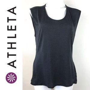 Athleta Black striped muscle run gym tee tant top